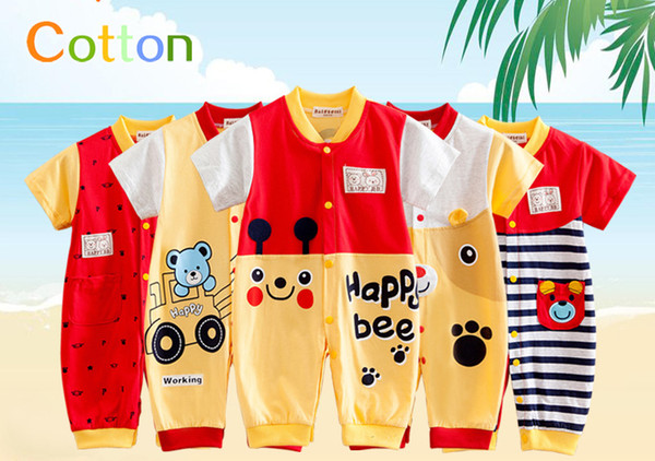 top popular New Toddler Short Sleeve 2016 Baby One-Piece Romper Mandarin Collar 100% Cotton Free Shipping Cheap Kid Clothing 8 Styles Wholesale Price 2019