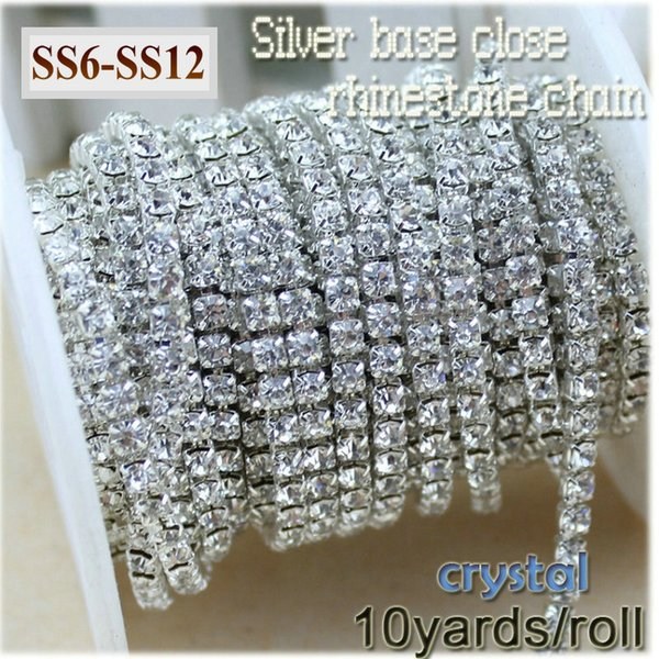 10yards/roll clear crystal SS6-SS12(2mm-3mm) silver base Rhinestone Chain apparel Sewing style diy beauty accessories