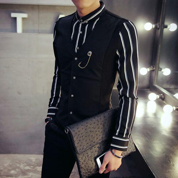 New Fashion Mens Luxury Casual Shirts Vest False two pieces Slim Fit Stylish Dress Shirts free shipping