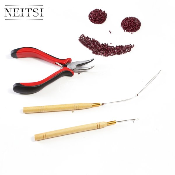 Hot Sell 4Pc kit for Nano/Micro Ring Hair Extension: 1000 Nano Ring Beads &1pc Hook Needle +&1pc Loop Wood Puller & 1pc Pliers