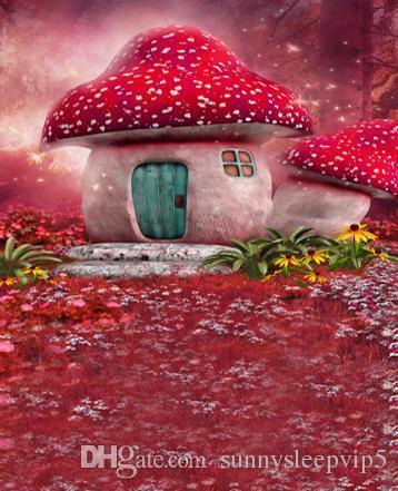 Fantasy Mushroom House Children Wedding Baby Vinyl Backdrops 5X7ft Backgrounds for Photo Studio Props Photography Background