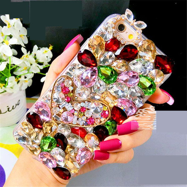 For Samsung galaxy G530 a5 a7 2016 2017 grand prime Pretty Luxury Cute Diamond Heart Shining glitter Crystal cover case