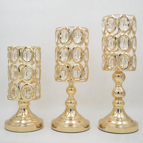 New Peculiar Metal Golden Candle Holder With Crystals Wedding Candelabra Centerpiece Home Decoration Candlesticks L Set