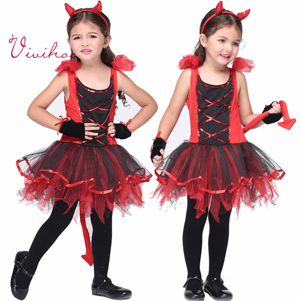 Little Devil Costumes Children Halloween Cosplay Naughty Demon Costumes Party Girls Red Lace-up Tutu  sc 1 st  DHgate.com & 2018 Little Devil Costumes Children Halloween Cosplay Naughty Demon ...