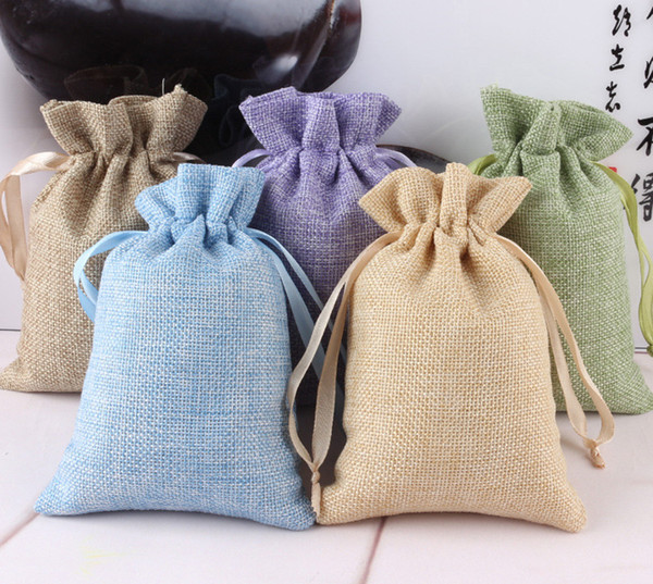 factory price Natural Burlap Linen Fabric Favor gifts jewelry Bags Drawstring Pouch Gift Wedding Jewelry Pouches 10.5cm*15.5cm 8 colors