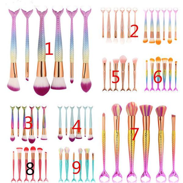 6 шт./лот Русалка макияж кисти наборы 3D красочные профессиональный макияж кисти Фонд румяна косметический набор кистей Kit Tool 1 компл.=6 шт.