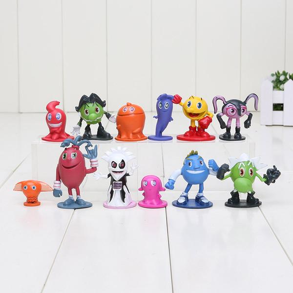 Heißer Verkauf 12pcs / lot Pac Man nette Karikatur gespenstische Abenteuer-Tätigkeits-Abbildungen Pacman Pixel-Film-Abbildungen spielt bestes Geschenk für Kind