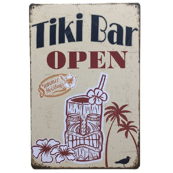 Wholesale Tiki Bar Open Retro rustic tin metal sign Wall Decor Vintage Tin Poster Cafe Shop Bar home decor