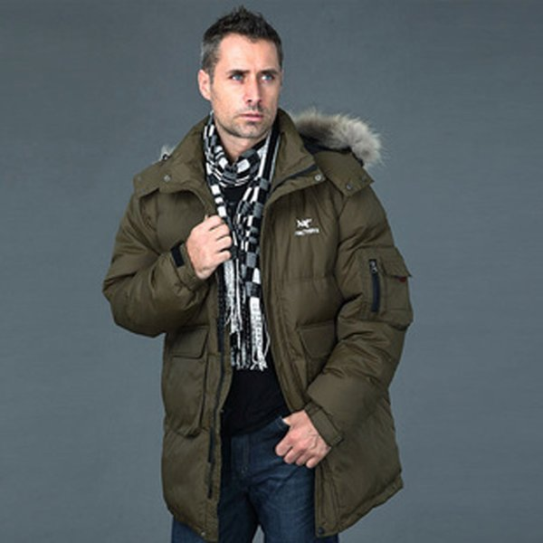 Fall-Nice Men Winter Warm Down Coat Thickening Hooded Imitation Fur Collar Jacket Plus Size White Duck Down Outwear Parkas HJ113