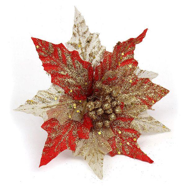 Weihnachten 5 stücke 20 cm Künstliche Blumen Elegante Pulver Pailletten Künstliche Simulation Dekoration Blumen Home Party Weihnachtsbaum Ornament