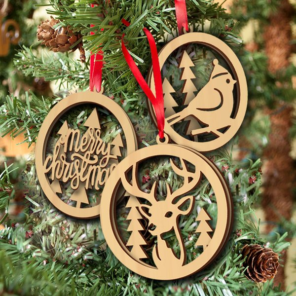 3PCS/set Wood Christmas Ornament Wooden Laser Cutouts Bird Tree Merry Christmas Patterns Christmas Tree Hanging Ornaments Party Decorations