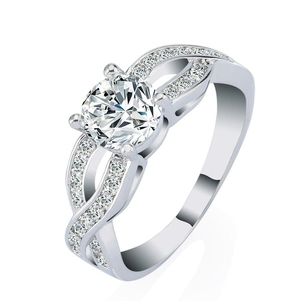 Luxury 18k White Gold Plated Wedding Anniversary Engagement Ring Set Princess CZ Created Diamond Jewelry Wholesale