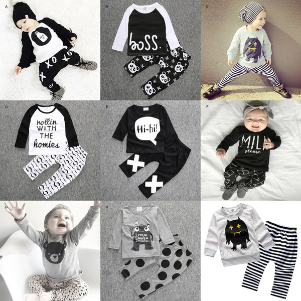 Ins Baby Boy Girl 2PC Suit Clothing 2016 New Autumn Halloween Newborn Pattern Top Shirt+Pant Two-piece Suit Infant Tracksuit Outfit 0-2T
