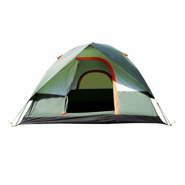 Wholesale- RU Stock Waterproof Outdoor Camping Hiking Polyester Oxford Cloth Dual Layers Tent Portable 4 People Travel Climbing Tent