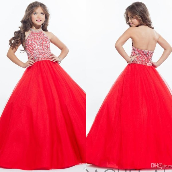 top popular Rachel Allan 2019 Sparkly Girls Pageant Dresses for Teens Halter Tulle Floor Length Rhinestone Little Girls Prom Party Dresses 2020