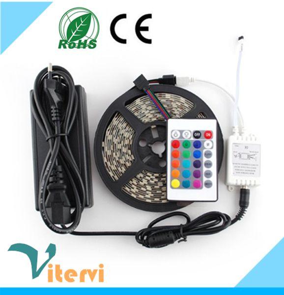 24 Tuşları IR Uzaktan Kumanda LED Işık şeritleri 5 M Set 5050 SMD 300led 110 V-240 V lamba su geçirmez IP67 şeritleri kırmızı gree ampul beyaz sarı rgb