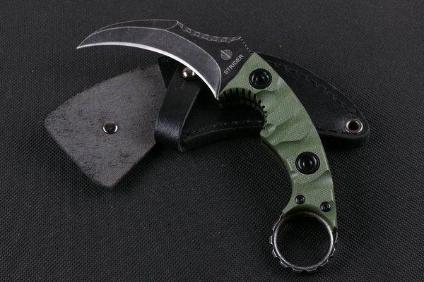 Strider Claw Karambit Reparierte Messer D2 Klinge G10 Griff 57HRC Stonewashed Tactical Jagd Überleben Tasche EDC Lederscheide Sammlung