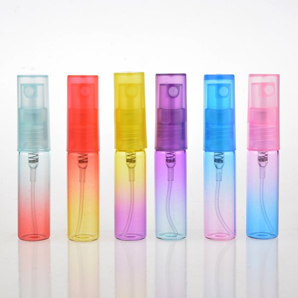 Wholesale- 20pcs/lot 5ml Colorful empty Glass Perfume Bottle 5cc Refillable Mist Spray Bottle Travel Atomizer cosmetic containers