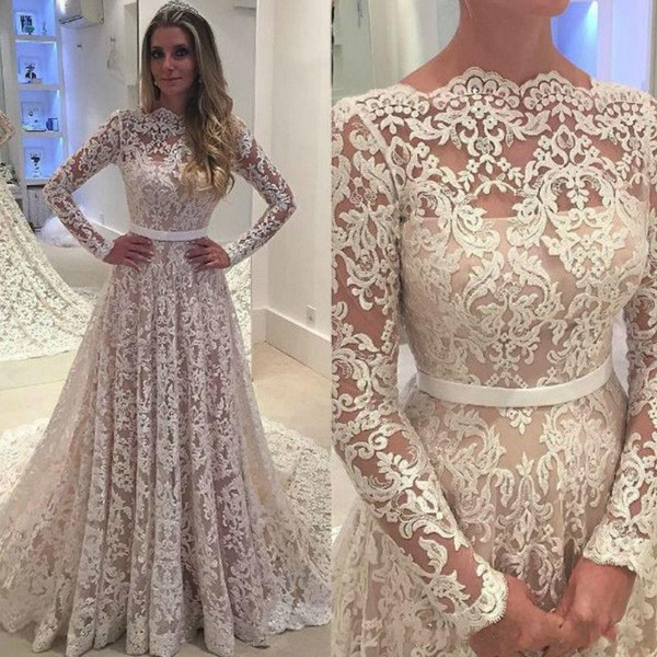 2017 long sleeve lace wedding dress new sexy, no back A child skirt ...