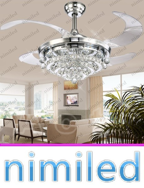"best selling nimi908 42"" Invisible Crystal Ceiling Fan Lights Chandelier Restaurant Living Room Lighting Bedroom Restaurant Pendant Lamp Droplight"