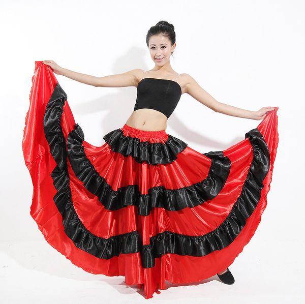 top popular Bohemian skirt gypsy skirt belly dance skirt flying skirt Flamenco Belly Dancing 360 Degree Circle Big Skirt FreeShipping 2019
