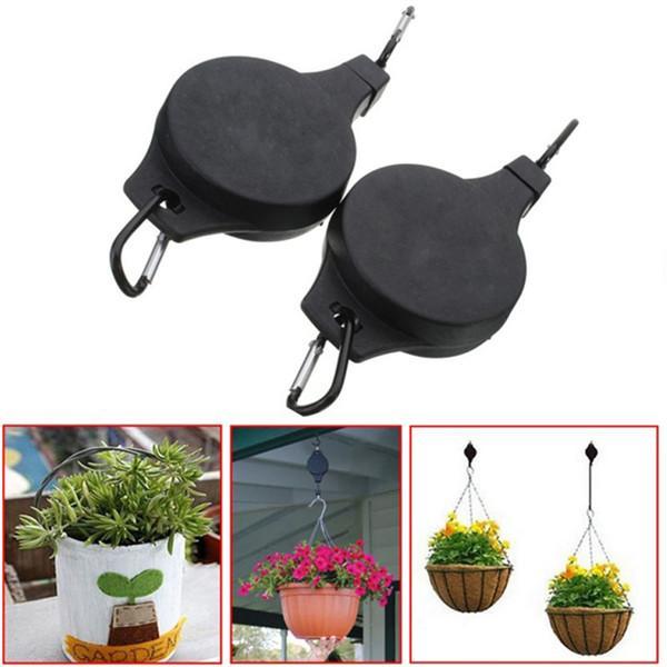 Nouvelle mode créative 2pcs / set noir facile portée pot de fleurs crochets plante poulie pour fournitures de jardin outils F489