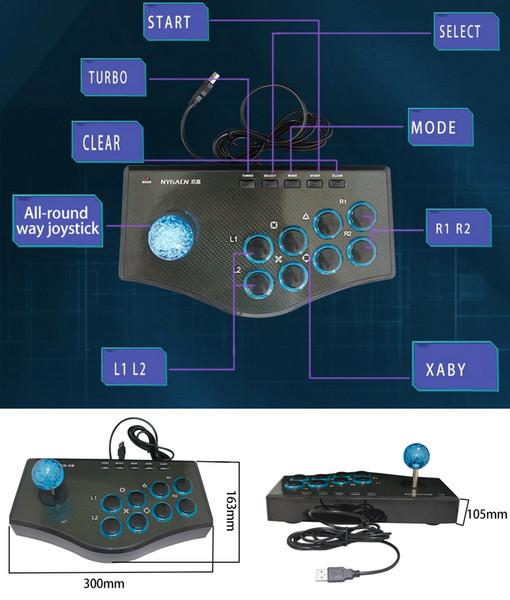 Горячие Продажи USB Проводной Игровой Контроллер Аркады Борьба Джойстик для PS3 Android Компьютер ПК Геймпад