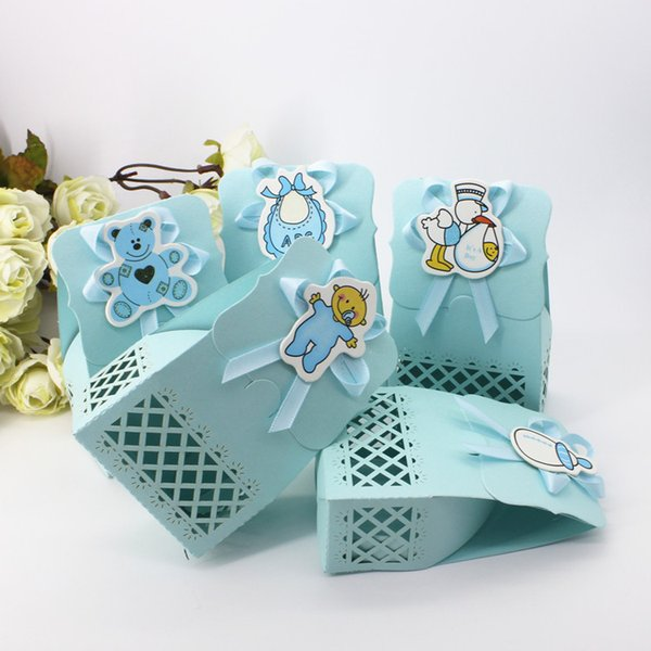 60Pcs Hollow Out Baby Candy Box Baby Shower Birthday Wedding Party Favour Chocolate Gift Boxes Unique and Beautiful Design New