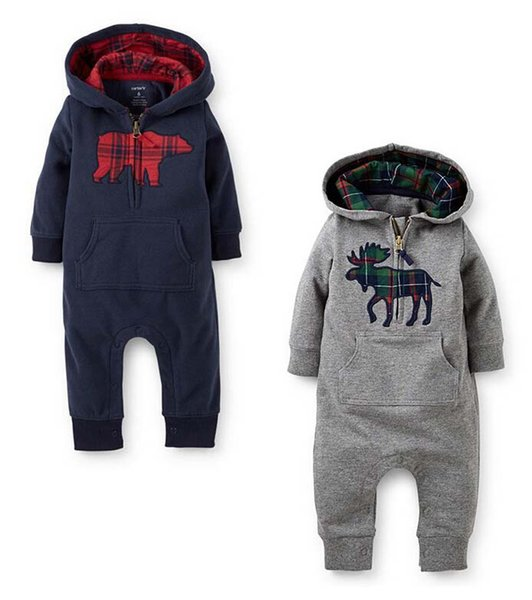 2016 spring and autumn new style baby boy and girl Climb clothes baby's Romoers hooded kids one-piece garment children's jumpsuits