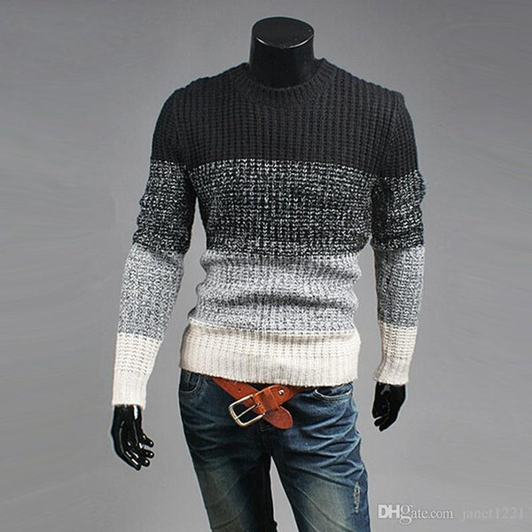 Pullover Sweater For Mens Long Crew Neck Thick Warm Sweaters Cotton Wild Patchwork Men Casual Slim Knitwear J161042