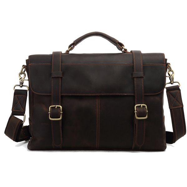 Wholesale- ROCKCOW Crazy Horse Leather Briefcase Messenger Bag Laptop Bag For Men 8657