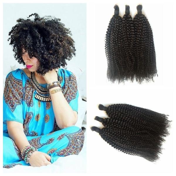 4a,4b,4c Kinky Curly Virign Peruvian Bulk Human Hair For Braiding 100% Unprocessed Human Braiding Hair Bulk No Weft Color #1b G-EASY