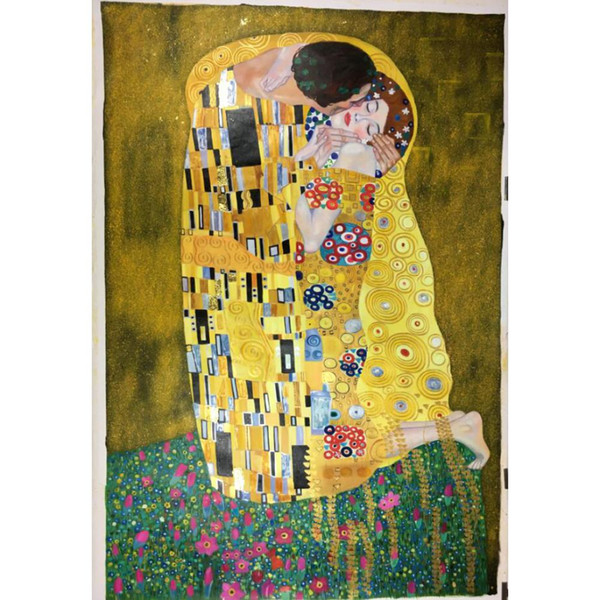 Decorative paintings Gustav Klimt The Kiss art for bedroom wall decor hand-painted oil on canvas