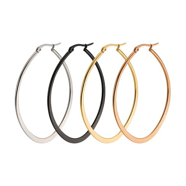 top popular Hot Sale Ellipse Shape Hoop Earrings For Women Trendy Style Stainless Steel Big Circle Earring For Engagement Party 2019