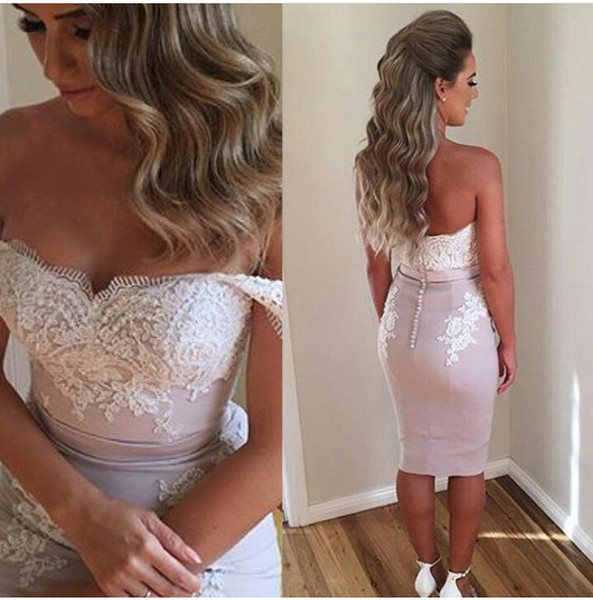 best selling 2016 Short Becch Summer Prom Dresses Off the Shoulder Beaded Sleeveless Lace Appliques Knee Length Evening Gowns