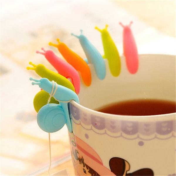 Nette Mini Schnecke Form Silikon Teebeutel Halter Bonbonfarben Teebeutel clip Persönlichkeit Tee Werkzeuge IA944