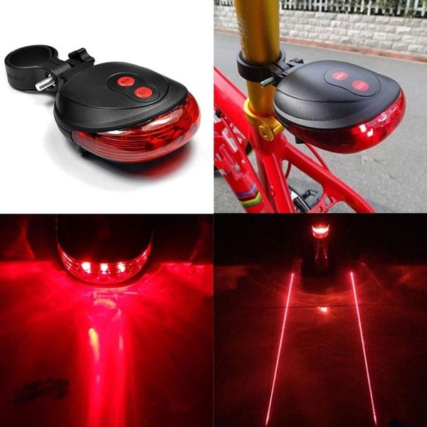 best selling Bike Lights 5 LED+2 Laser Cycling Bicycle Bike Rear Tail Safety Warning Flashing waterproof Laser Lamp Light