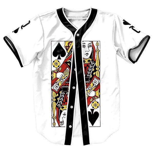 الجملة-ملكة البستوني جيرسي الصيف نمط مع أزرار 3d الطباعة الهيب هوب للرجال قمصان الرياضة قمم البيسبول قميص الأزياء الأعلى تيز
