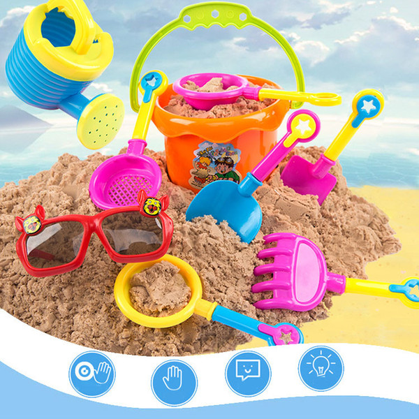 New sets 9 Pcs sand playing tool Kids Beach Toys Castle Bucket Spade Shovel Rake Water Tools gift for kid