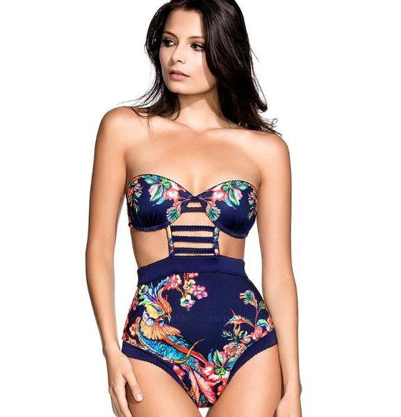 2017 Phoenix Print Push Up Cut Out High Waist Swimsuits Wrap Triangle Swimwear For Women Bathing Suit Beach Wear Monokini M-XL
