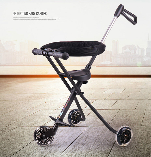 2019 3 8years Factory Outlet Stroll Wafer Artifact Aluminum Alloy Child Folding Skateboard Three Wheeled Trolley Child Stroller Baby Carriage From