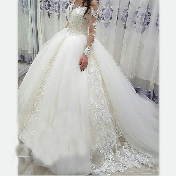Cheapest Vestido Custom Ball Wedding Gowns Sheer Long Sleeves Over Skirts Tulle Puffy Applique Lace Wedding Dress Exquisite