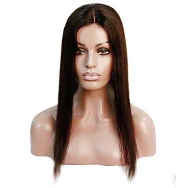 Vendita calda parrucche brasiliane del virgin 100% del merletto completo parrucche del merletto per le donne nere Parrucca anteriore del merletto con i capelli del bambino u parte parrucche dei capelli umani # 2 Kabell