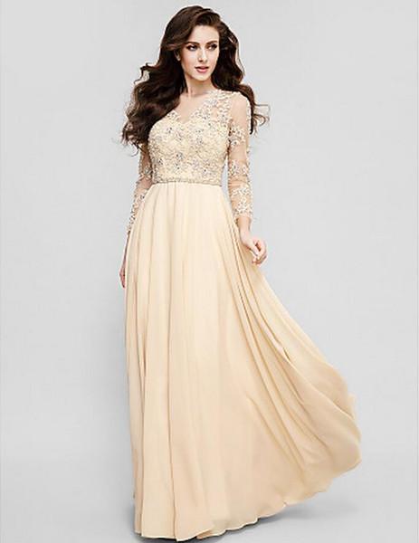 top popular Elegant Plus Sizes Jewel A-line Floor-length 3 4 Length Sleeves Chiffon Custom Made Formal Evening Dress Applique Beadings Mother's Dresses 2019