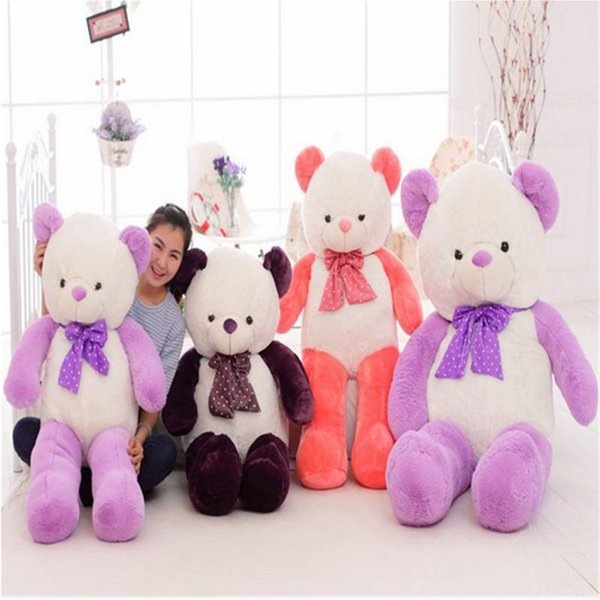 new Giant Cute Teddy Bear with Bow Big Soft Stuffed Plush Bears 160cm 63inches Best Gift for Girlfriend and Children One Piece