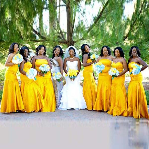 Alegre Nigeriano BellaNaija Bridedmaid vestidos Casamentos brilhantes ouro-como amarelo Sereia Sexy confessar Longo Vestido de Dama de honra Barato