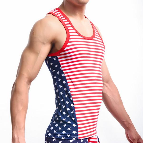 Men's Sleeveless Tops Tank Classic USA Flag Printed Mens Tops Tank Cotton Men Casual Sexy Low Waist Convex Design Vest Undershirts