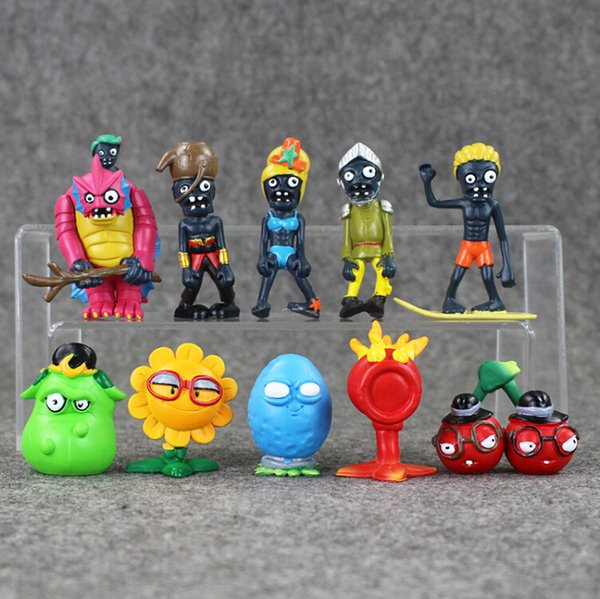 10 Styles 4-7.5cm Plants vs Zombies PVC Action Figure Collectable Model Toy for kids gift free shipping EMS