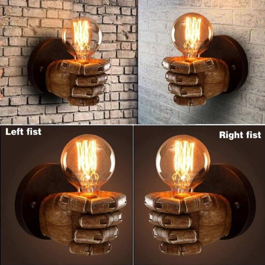 New Style Industrial Personality E27 Vintage LED Resin Fist Light Retro Corridor Bedside Wall Lamp