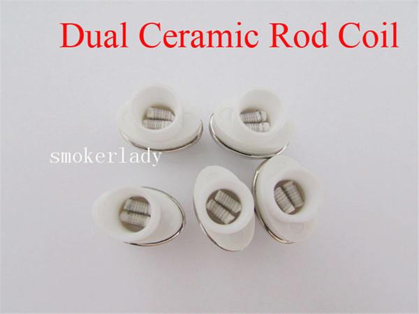 MOQ=20pcs Wax Full Ceramic Dual Coil Replacement Core Atomizer For Wax Vaporizer Pen Quartz Rod for Elips Cloud Pen free shipping